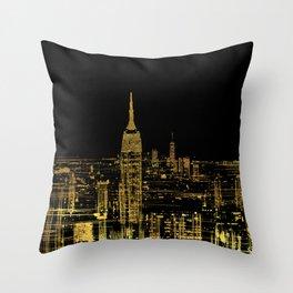 Abstract Gold City  Skyline Design Throw Pillow