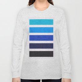 Colorful Blue Stripe Pattern Long Sleeve T-shirt