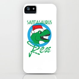 """Santasaurus T Rex"" tee design. Perfect gift for your loved ones this seasons of giving! Go get it!  iPhone Case"