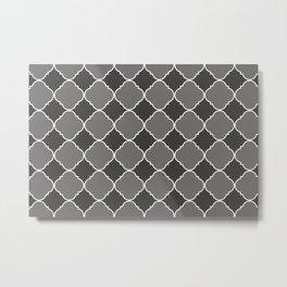 Pantone Pewter Ornamental Moroccan Tile Pattern with White Border Metal Print