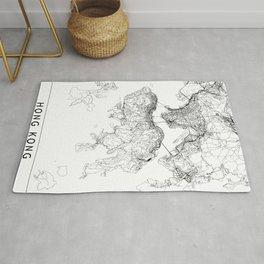 Hong Kong White Map Rug
