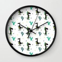 Cute Desert Dinosaurs (white) Wall Clock