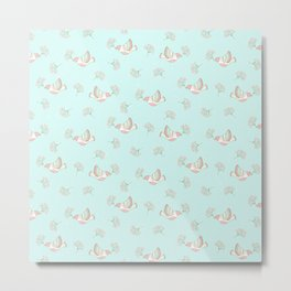 Christmas birds - Bird pattern on turquoise background Metal Print