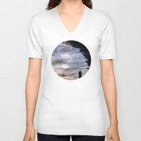 fairies V-neck T-shirts featuring Photographing Fairies by unaciertamirada