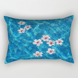 Almond blossom floating in swimming pool Rectangular Pillow