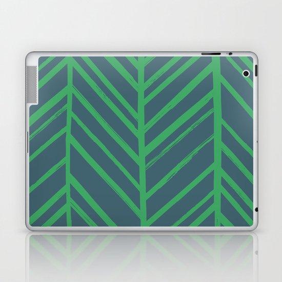 Painted Herringbone - in Emerald Laptop & iPad Skin