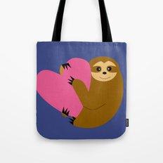 Sloth in love blue Tote Bag