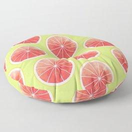 Pink Grapefruit Slices Pattern Floor Pillow