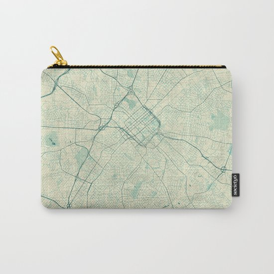 Charlotte Map Blue Vintage Carry-All Pouch