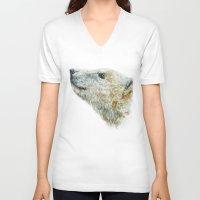 polar bear V-neck T-shirts featuring Polar bear by Laura MSS