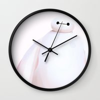 baymax Wall Clocks featuring Baymax  by kelsey cooke art