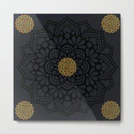 """Black & Gold Arabesque Mandala"" Metal Print"