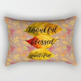 Fall Leaves Thankful Blessed Grateful Typography Rectangular Pillow