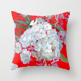 DELICATE RED & WHITE LACE FLORAL Throw Pillow