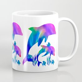 Rainbow Dolphins swimming in the sea Coffee Mug