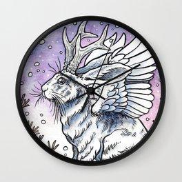 Winged Jackalope in Winter Plumage Wall Clock