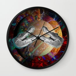 "Collage ""Mercury"" Crocodile Collage Nature Collage Planet Collage Wall Clock"