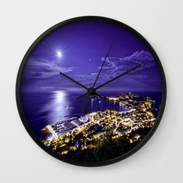 Evening Sea View over Beaulieu-sur-Mer and Saint Jean Cap Ferrat Wall Clock