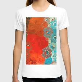 Turquoise and Red Swirls T-Shirt