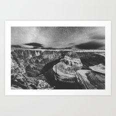 Southwest Starry Night Black and White Art Print