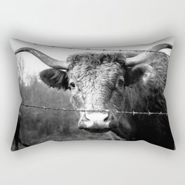 Highland Cow Longhorn Barbed Wire Fence Black and White Rectangular Pillow