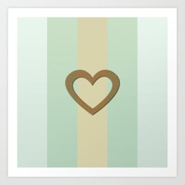Big Gold Heart Pastel Green Yellow Romantic Love Art Print