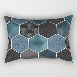 Midnight marble hexagons Rectangular Pillow