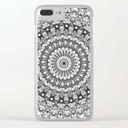 Shades of grey mosaic mandala Clear iPhone Case