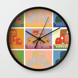 Pontiac 1935 9 times pop art style Wall Clock
