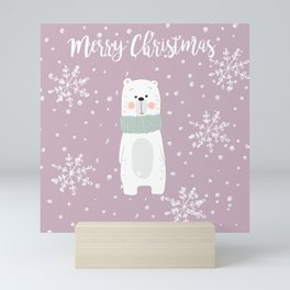 Cute Polar Bear Pink Mini Art Print