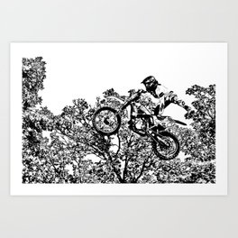 Stealing the Air - Freestyle Motocross Rider Art Print