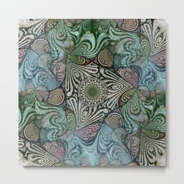 Labyrinth Mandala Blue Green Grey Metal Print