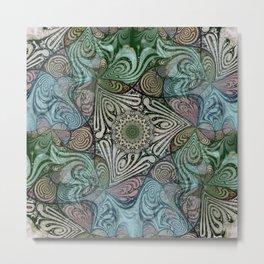 Labyrinth Mandala Blue Green Grey Metal Print