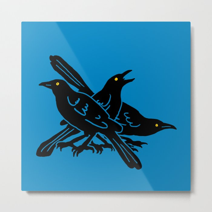Grackles, the most diabolical birds, take over Austin, Texas Metal Print