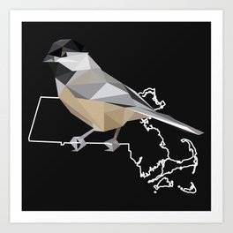 Massachusetts – Black-Capped Chickadee (Black) Art Print
