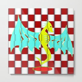Untamed Dragon on Red Checkers Metal Print