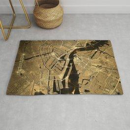 amsterdam map gold Rug