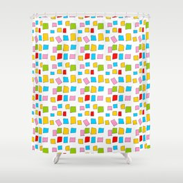rectangle and abstraction 3-mutlicolor,abstraction,abstract,fun,rectangle,square,rectangled,geometri Shower Curtain