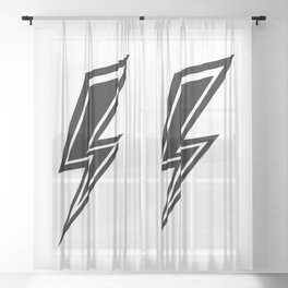 Lightning - Black and White Sheer Curtain