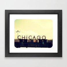 Chicago Skyway ~ Vintage Mid-Century Tollbridge Sign Framed Art Print