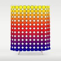polka dot Shower Curtains featuring Rainbow Dot Candy Polka dot by ForgottenCotton