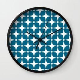 Mid Century Modern Star Pattern Peacock Blue 2 Wall Clock