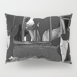 Black & White Cattle Feeding Pencil Drawing Photo Pillow Sham