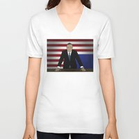 frank underwood V-neck T-shirts featuring House Of Cards - Frank Underwood by Tom Storrer