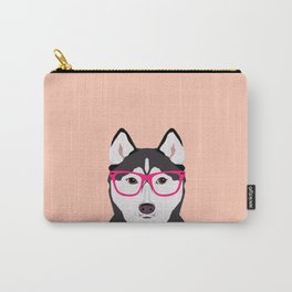 Kamri - Siberian Husky with Pink Hipster Glasses, Cute Retro Dog, Dog, Husky with Glasses, Funny Dog Carry-All Pouch