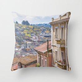 Quito Historic Center-Aerial View, Ecuador Throw Pillow