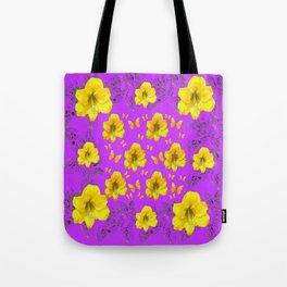 YELLOW AMARYLLIS FLOWERS & BUTTERFLIES PURPLE ART Tote Bag