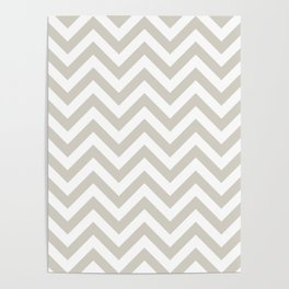 Wolf Gray Chevrons Pattern Poster