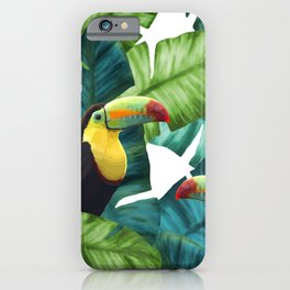 Toucans Tropical Banana Leaves Pattern iPhone Case