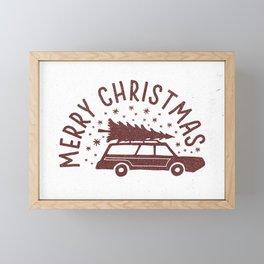 Merry Christmas Station Wagon Framed Mini Art Print